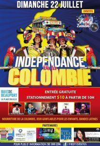 Affiche fête indépendance Colombie à Québec